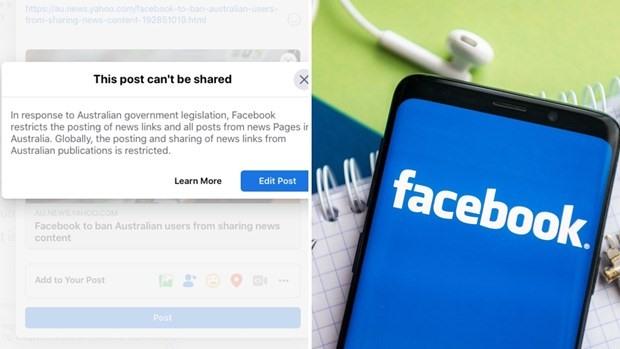 Facebook đã có hành động hạn chế chia sẻ tin tức ở Australia. Ảnh: Yahoo
