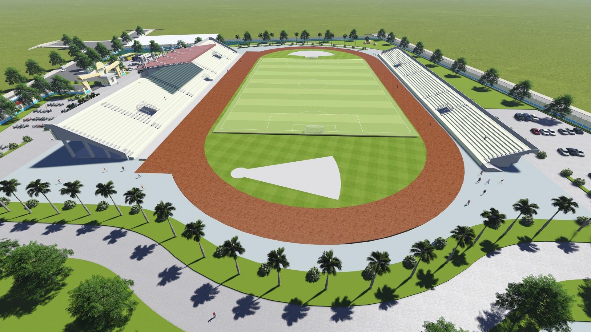 Sân bóng đá có kích thước đạt tiêu chuẩn quốc tế.