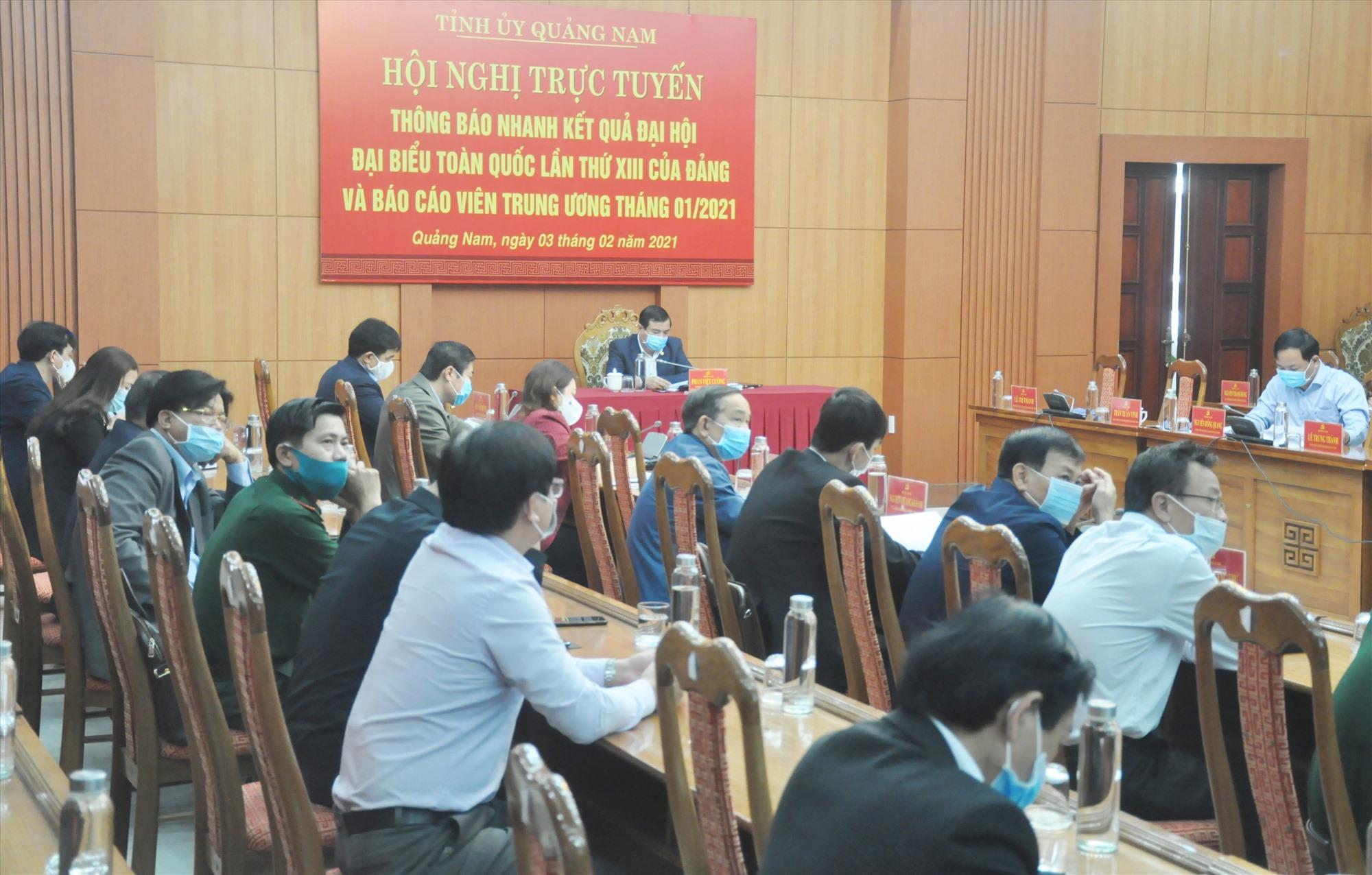 Quang cảnh hội nghị tại điểm cầu Quảng Nam sáng 3.2. Ảnh: N.Đ