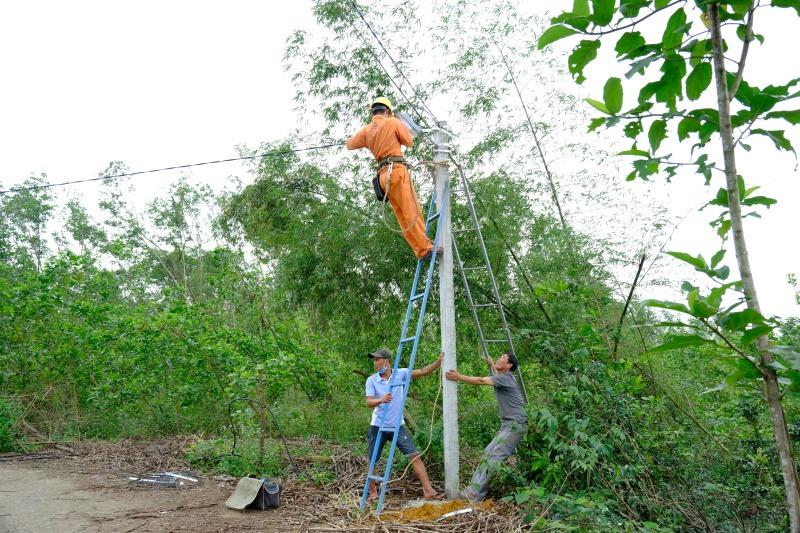 Các bạn trẻ đã lắp đặt hơn 28 bóng đèn đường của gần 1km đường dây điện.