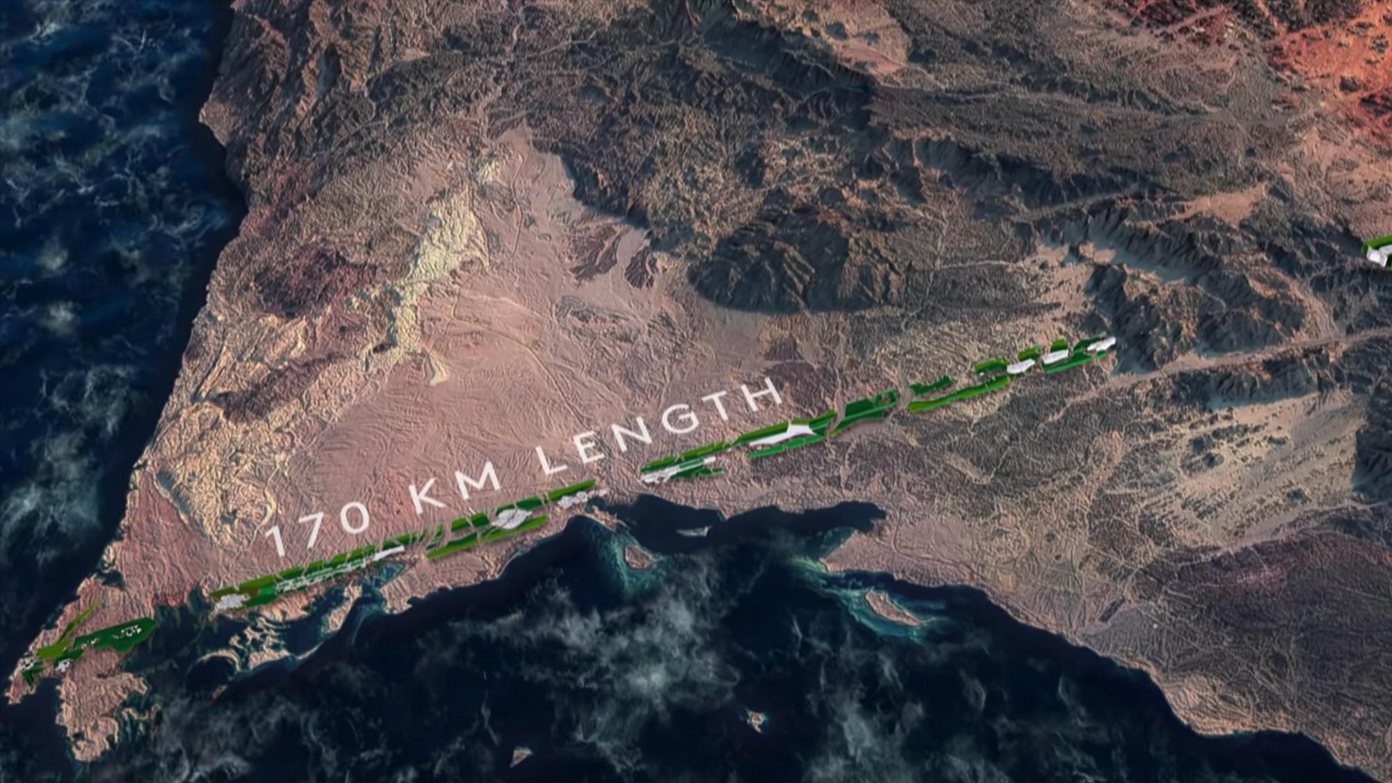 Với chiều dài 170km, The Line sẽ không có ô tô và các tuyến xe đường dài. Ảnh: dezeen.com