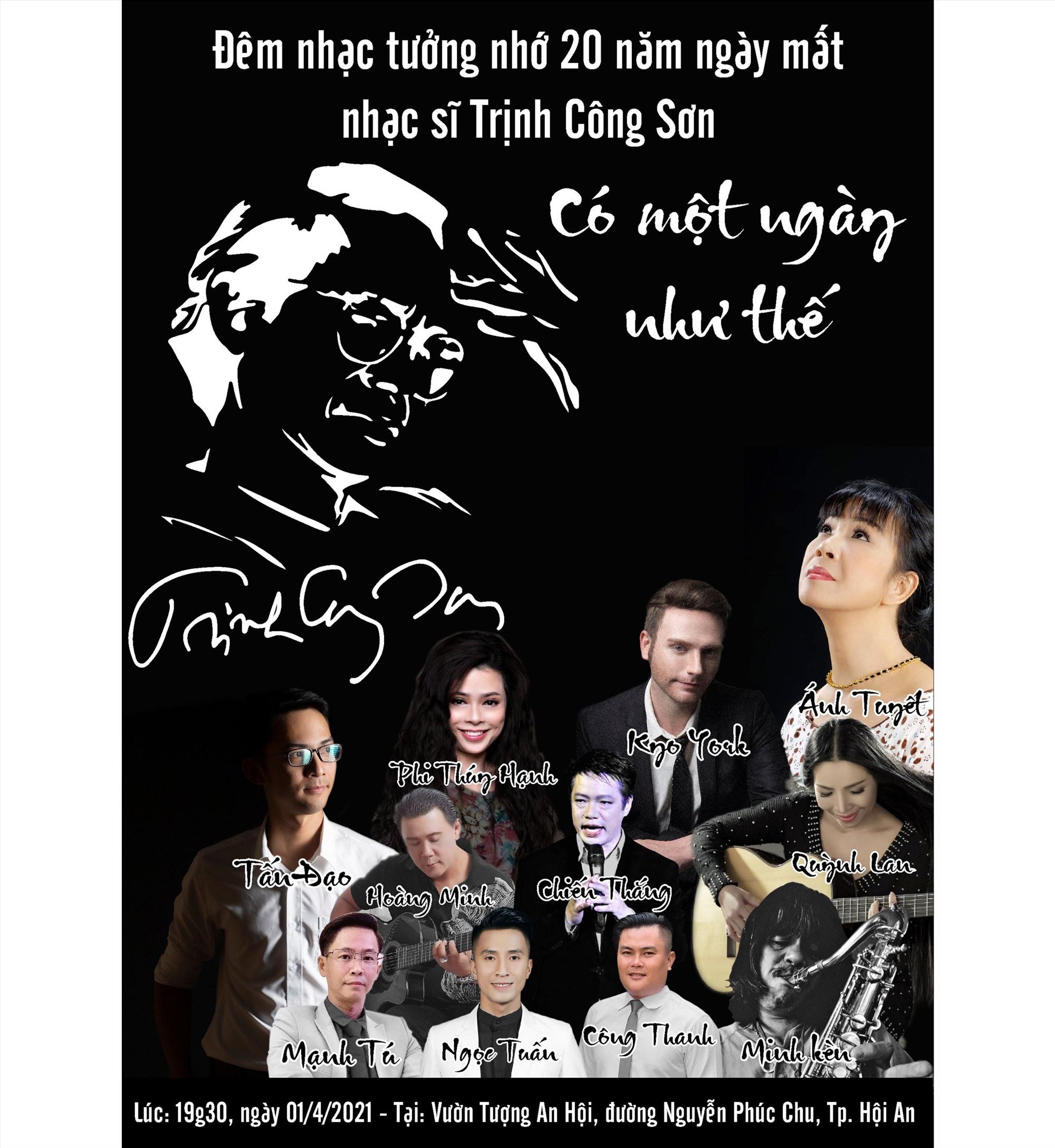 Đêm nhạc tưởng nhớ nhạc sỹ Trinh Công Sơn sẽ diễn ra ngày 1.4 tại TP.Hội An