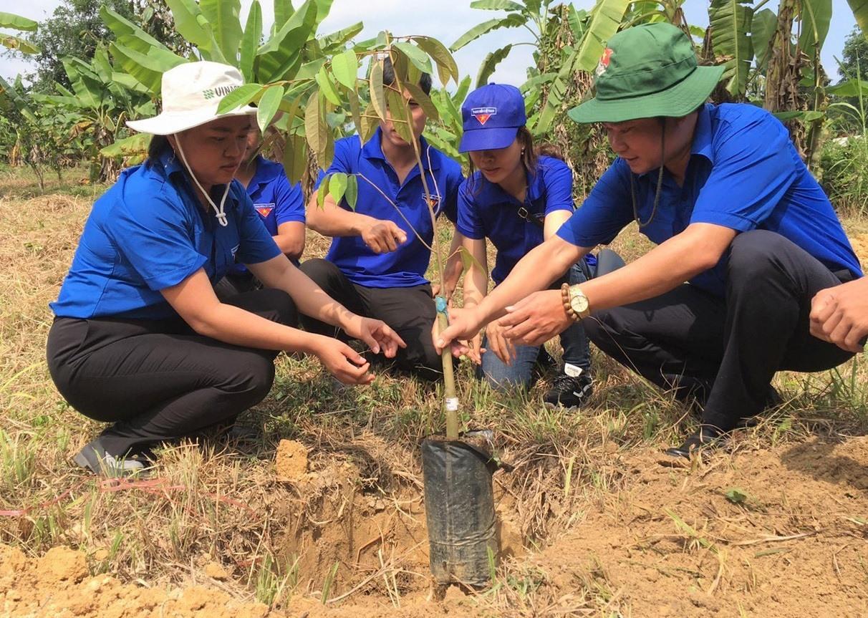 Đoàn tình nguyện trực tiếp trồng thí điểm giống cây sầu riêng giúp người dân nắm vững kỹ thuật trồng, chăm sóc cây. Ảnh: V.A