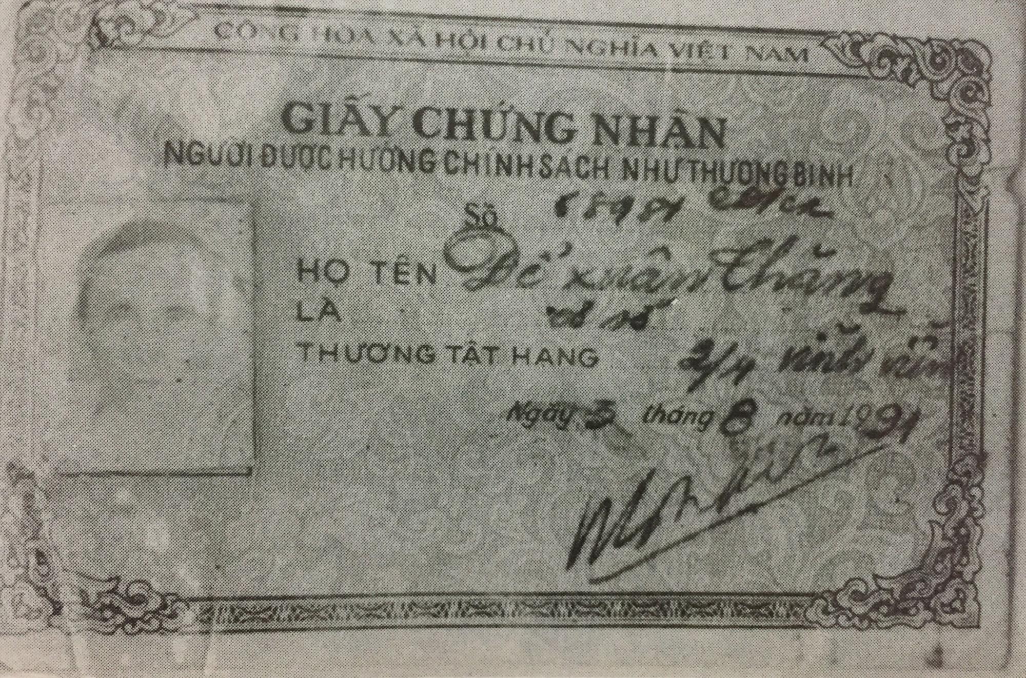 Giấy chứng nhận thương binh của ông Đỗ Xuân Thăng.