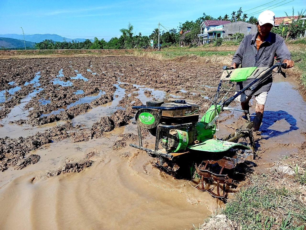Nông dân huyện Hiệp Đức tập trung làm đất gieo sạ vụ lúa hè thu 2021. Ảnh: S.A