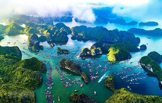 A bird's eye view of Cat Ba islands (Photo: VNA)