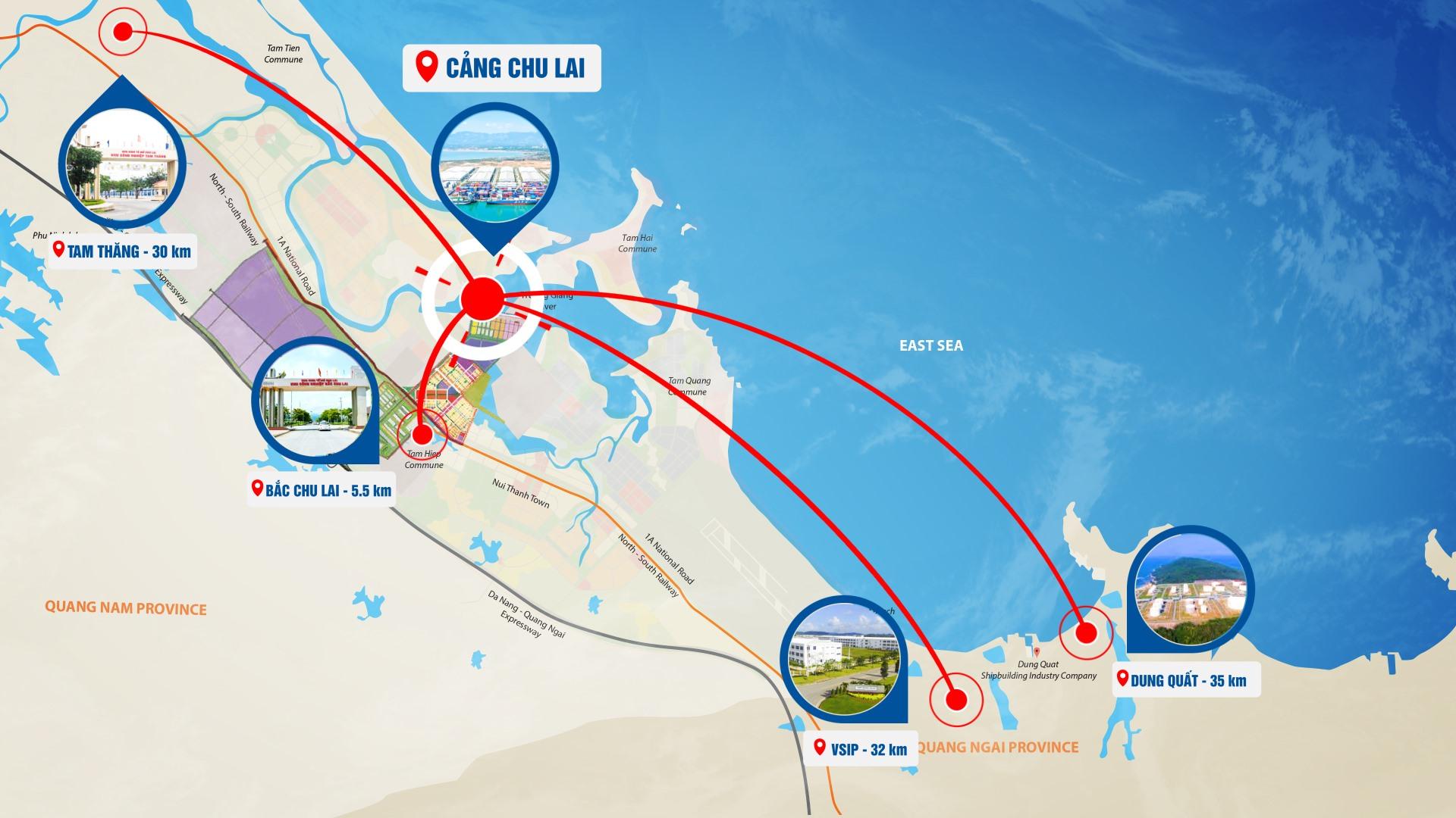 Cảng Chu Lai có vị trí địa lý thuận lợi, kết nối với các khu vực công nghiệp và các vùng, miền.