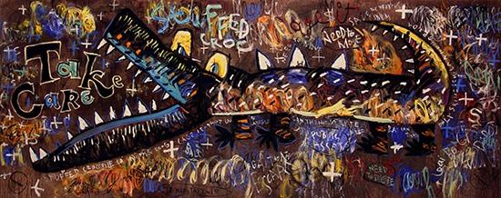 Tác phẩm Giải phóng (sơn dầu kết hợp, 200cm x 500cm, 2015) của Lê Kinh Tài.