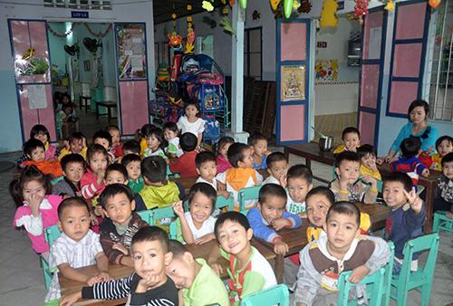 Các cháu mẫu giáo theo học tại cơ sở Mầm non tư thục Hương Sen. Ảnh: X.PHÚ