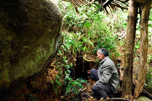 Vị trí hầm trú ẩn của Bí thư Tỉnh ủy đương thời Vũ Trọng Hoàng (Bốn Hương) tại vườn nhà ông Mịch.