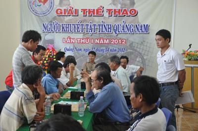 Lần đầu tiên giải cờ tướng dành cho người khuyết tật được tổ chức vào năm 2012. Ảnh:T.VY