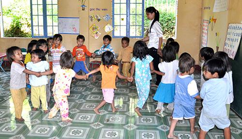 Một lớp học mầm non của xã Trà Tập, huyện Nam Trà My. Ảnh: X.PHÚ