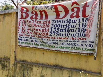 Đất đai rao bán trên địa bàn xã Điện Ngọc (Điện Bàn) giáp ranh với TP. Đà Nẵng.