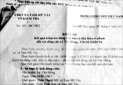 Báo cáo của Ủy ban Kiểm tra xã Tam Mỹ Tây về sai phạm của Xã đội trưởng Lê Văn Hồng. Ảnh: H.P