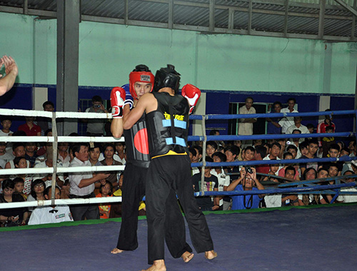 Các VĐV Bình Định (bên phải) thi đấu khá thành công khi giành 14 HCV.