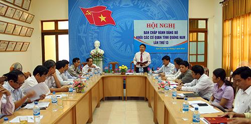 Ban Chấp hành Đảng bộ Khối Các cơ quan tỉnh tổ chức hội nghị đánh giá công tác 6 tháng đầu năm 2013, triển khai nhiệm vụ trọng tâm thời gian tới. Ảnh: X.NGHĨA