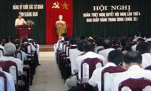 Đảng ủy Khối Các cơ quan tỉnh tổ chức hội nghị quán triệt Nghị quyết Trung ương 4 (khóa XI).