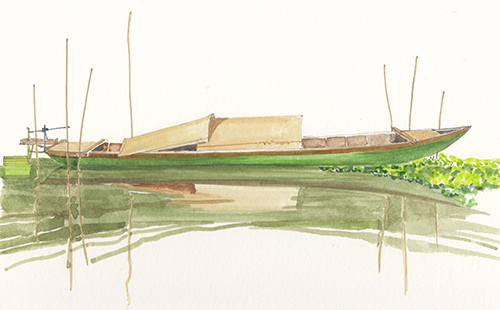 Boat on Hoai River.