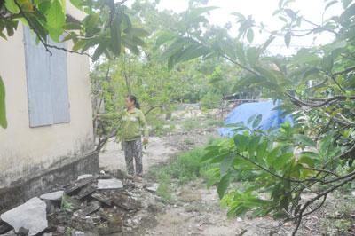 Căn nhà bà Huỳnh Thị Mẹo xây dựng từ năm 1988 nằm trên phần đất mà bà Dân cho là đất lấn chiếm.Ảnh: H.G