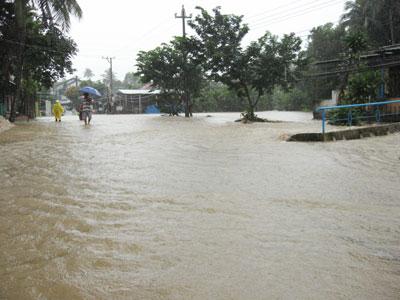 Nước lũ gây ngập lụt cục bộ và tràn vào nhà dân tại tổ Đàn Bộ thị trấn Trà My.