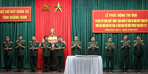 """Bộ Chỉ huy Quân sự tỉnh phát động thi đua """"69 ngày lập công Quyết thắng"""" hướng đến kỷ niệm ngày thành lập Quân đội nhân dân Việt Nam 22.12.2013."""