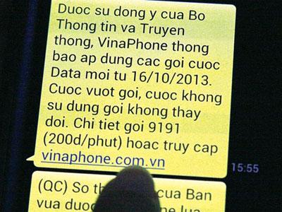 Tin nhắn thông báo tăng giá cước của nhà mạng Vinaphone cho khách hàng.Ảnh: C.T.A