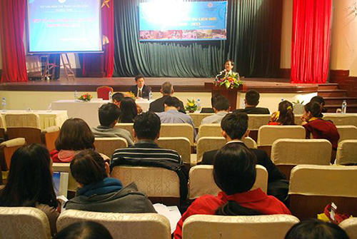An overview of the Quang Nam new tourism products  introduction in Ha Noi. Photo: Kim Bao.