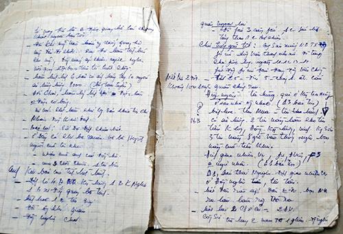 Những trang giấy ghi lại hoạt động, công tác của nguyên Bí thư Thị ủy Tam Kỳ - Trần Chí Thành trong chống Mỹ.  Ảnh: NGUYỄN SỸ LONG