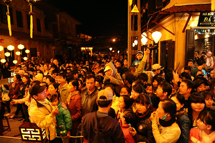Many Hoi An's  people and tourists welcomed New Year Ever.