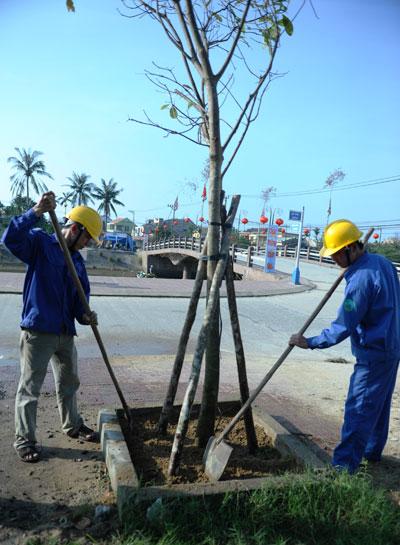 Công nhân Công ty Công trình công cộng TP.Hội An ra quân trồng cây đầu năm.  Ảnh: MINH HẢI