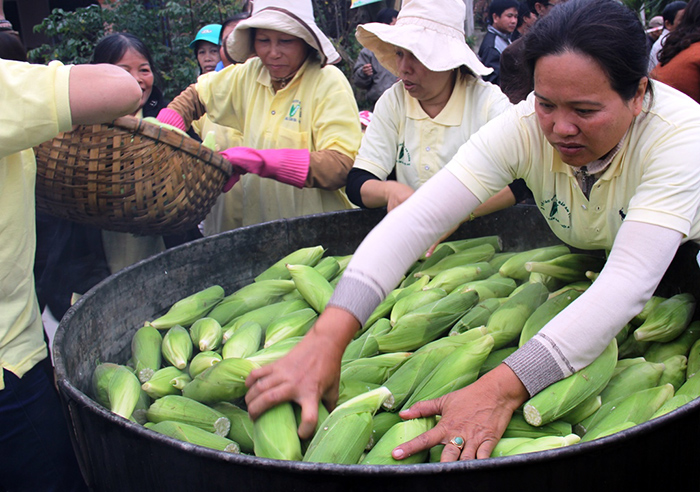 Many big corn processing firms in Hoi An city participated the festival.