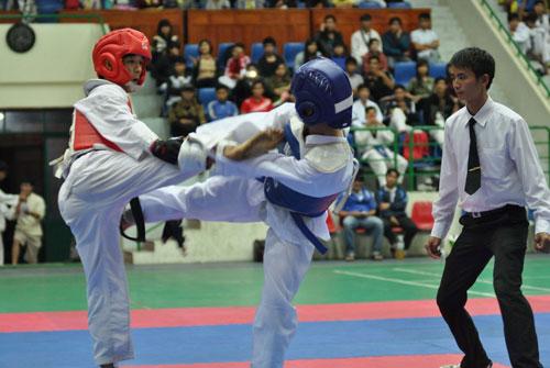 Giải Taekwondo đã diễn ra trong giai đoạn 1 của Đại hội TDTT tỉnh Quảng Nam lần thứ VII khá hấp dẫn. Ảnh: X.PHÚ
