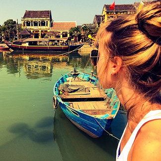 A part of Hoi An ancient town (viewing) from Hoai river.