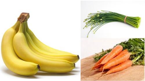 Các thực phẩm như cà rốt, chuối, rau hẹ… chứa những chất cần thiết cho sức khỏe đối với người thức khuya.Ảnh: T.ANH