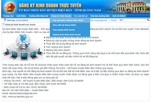 Tại Điện Bàn, người dân khi có nhu cầu có thể đăng ký kinh doanh qua mạng internet, tại địa chỉ http://motcua.dienban.gov.vn.