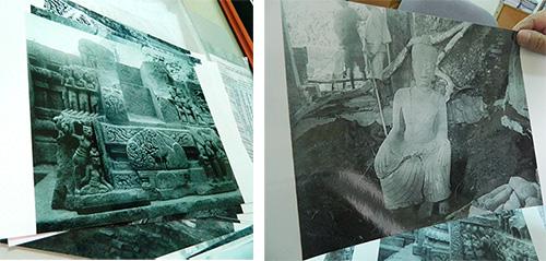 những bức ảnh do viện Viễn Đông Bác cổ chụp lại tại một cuộc khai quật vào năm 1901.