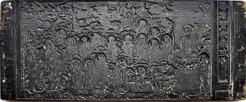 Một mộc bản ở chùa Chúc Thánh (Hội An) có hình Hộ pháp, Địa tạng, Chư Phật hải hội...