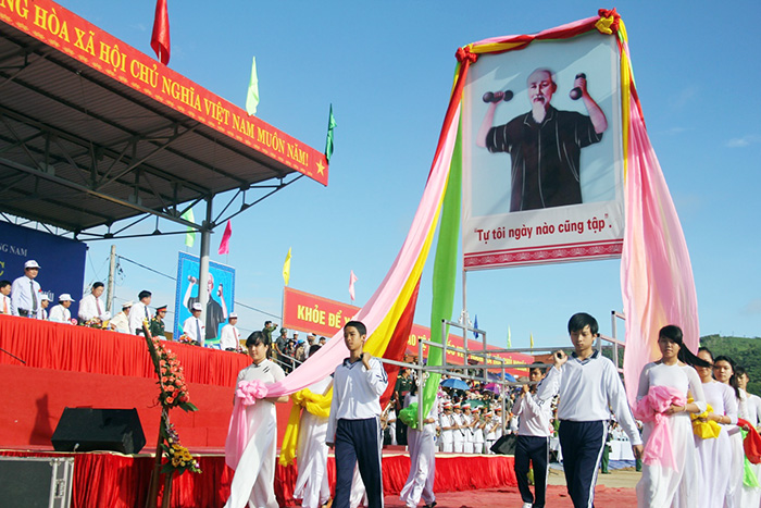 Uncle Ho image in the festival opening ceremony