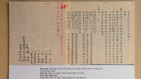 One of Nguyen dynasty official documents  will  be displayed.