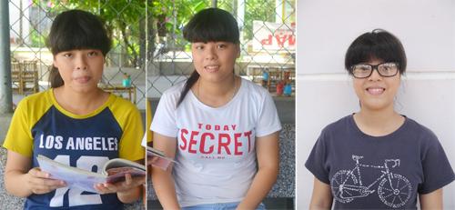Ba chị em sinh ba Thảo, Nhung, Ngọc. ảnh: N.P