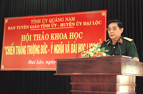 """Anh hùng Lê Mã Lương  tại Hội thảo khoa học """"Chiến thắng Thượng Đức - ý nghĩa và bài học lịch sử"""" tổ chức tại huyện Đại Lộc vừa qua."""