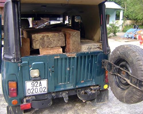 Tang vật cùng phương tiện chở gỗ lậu.