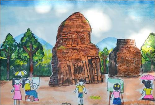bức tranh Mỹ Sơn được vẽ bởi các em thiếu nhi. ảnh: H.T