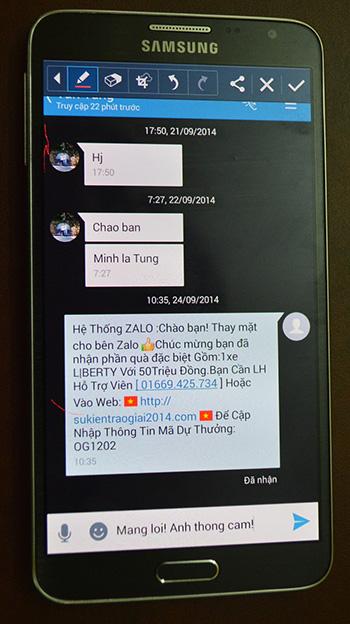 Tin nhắn trên mạng Zalo thông báo trúng thưởng được chụp lại.
