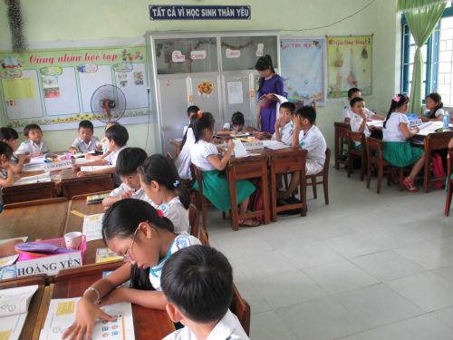 Một tiết học theo Mô hình VNEN của HS lớp 3/2 Trường Tiểu học Lê Thị Hồng Gấm.