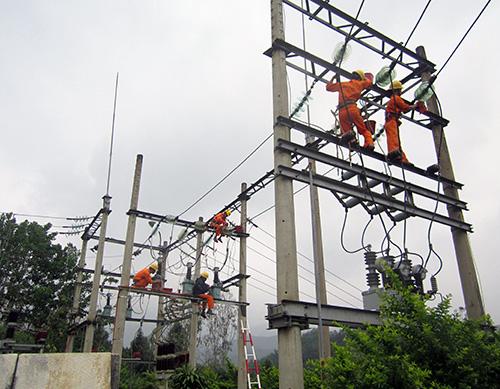 Công nhân cải tạo lưới điện, nâng cao chất lượng điện cho khách hàng. Ảnh: T.Lộ