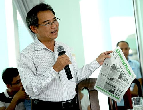 Trưởng ban Tuyên giáo Tỉnh ủy Ngô Văn Hùng phát biểu tại hội nghị. Ảnh: Minh Hải