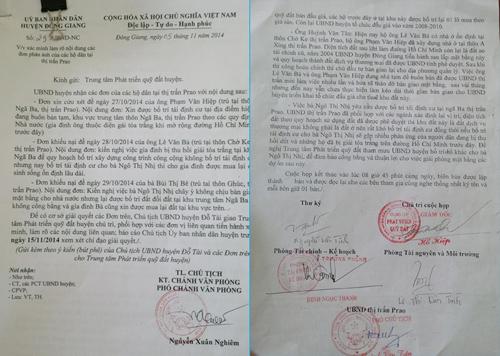 UBND huyện Đông Giang có văn bản chỉ đạo Trung tâm PTQĐ huyện giải quyết khiếu nại của ông Hiệp và biên bản cuộc họp với các hộ dân. Ảnh: P.G