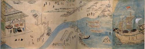 Bản đồ cảnh thương thuyền Nhật Bản vượt biển đến buôn bán với xứ Đàng Trong, mà người Nhật gọi là Kochi Koku (Giao Chỉ quốc) do GS. Kikuchi Seiichi cung cấp.