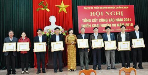 Lãnh đạo Đảng ủy khối doanh nghiệp tặng giấy khen cho các TCCSĐ xuất sắc, tiêu biểu năm 2014.